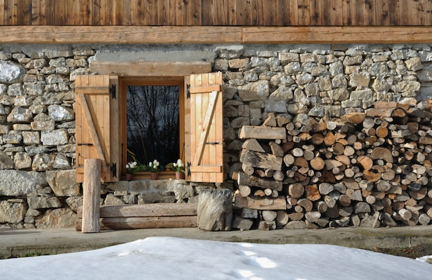 Cottage of stone and wooden