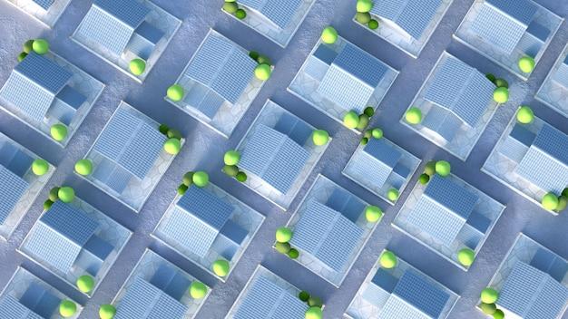 Коттеджный поселок, вид сверху. 3d иллюстрации, 3d рендеринг.