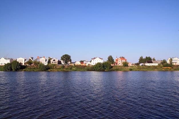 Cottages on coast river
