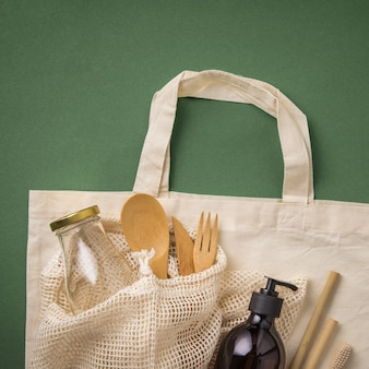Cotton bag, bamboo cultery, glass jar, bamboo toothbrushes, hairbrush and straws