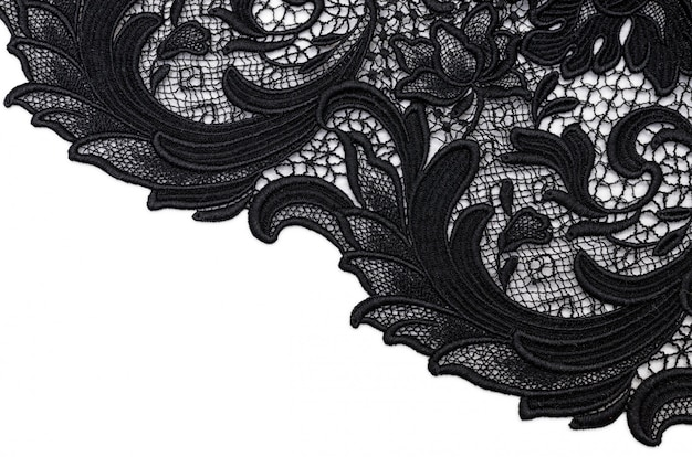 Cotton fabric black lace