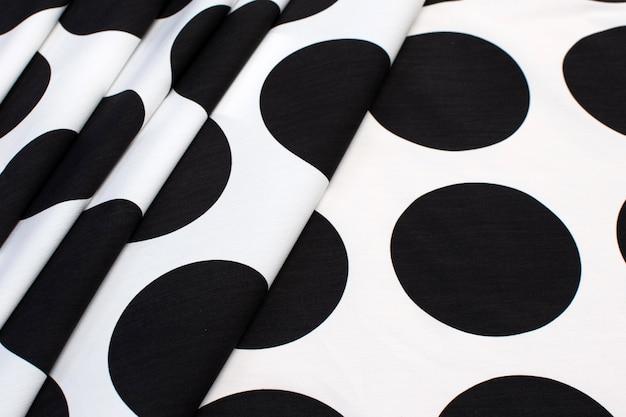 Cotton fabric large black peas on white