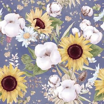 綿の花とひまわりのシームレスなパターン。水彩イラスト