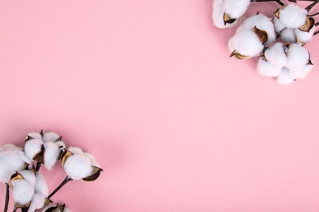 ピンクの表面に綿の花