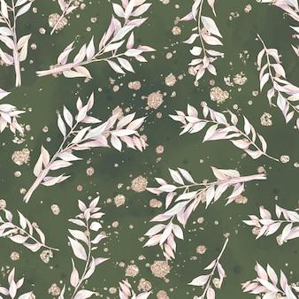 Бесшовный фон цветы хлопка и ветви. акварельная иллюстрация.
