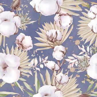 Бесшовный фон цветы хлопка и ветви. акварельные иллюстрации