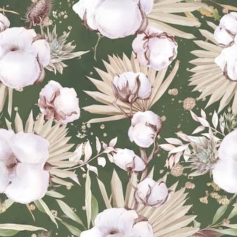 綿の花のシームレスなパターンと枝。水彩イラスト