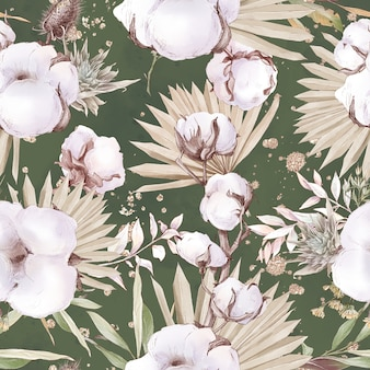 Cotton flowers seamless pattern and branches. watercolor illustration.