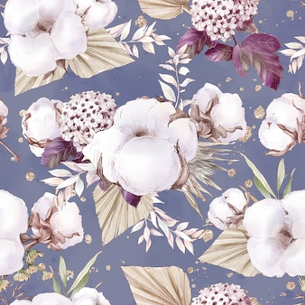 Cotton flowers seamless pattern and branches. watercolor illustration