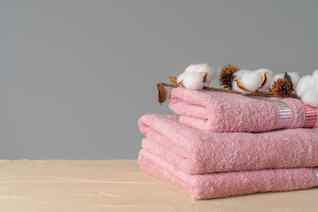 Cotton soft towels front view, copy space
