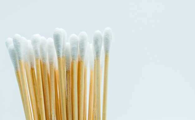 Cotton sticks isolated on white background with copy space for text.