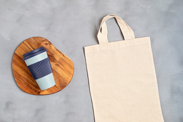 Cotton tote bag and reusable coffee cup eco friendly lifestyle