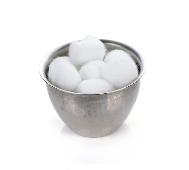 Cotton wool container on white.