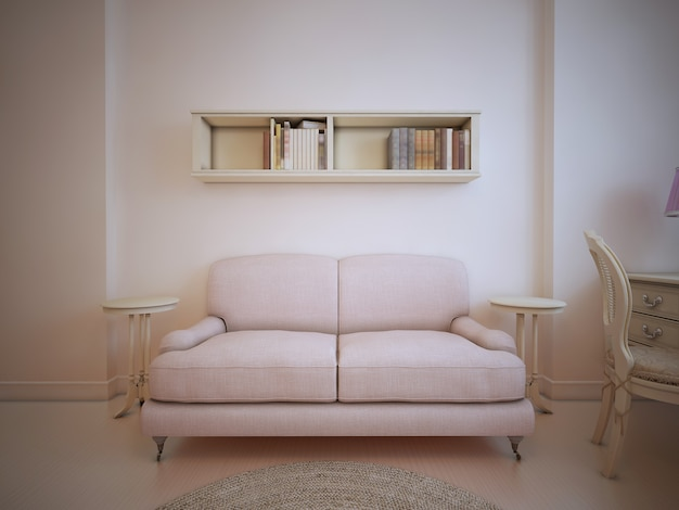 Couch  in front of a wall in living room