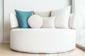 Couch with cushions and a blue