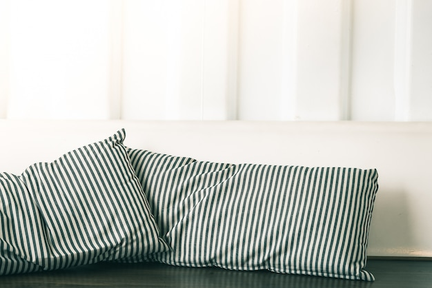 Couch with striped cushions
