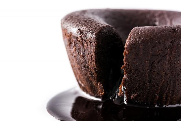 Coulant chocolate cake isolated on white close up