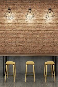 Counter bar with rustic brick wall