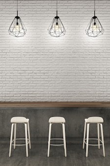 Counter bar with white brick wall