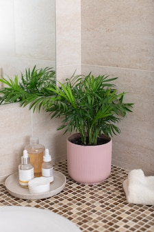 Counter in the bathroom with houseplant in pink flowerpot, cosmetics for face care, clean towel. home decoration. vertical image, selective focus