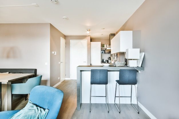 Counter with chairs dividing kitchen with modern furniture from dining area in contemporary flat