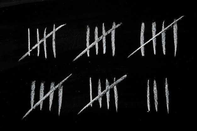 黒板にチョークで描かれた集計表で数える