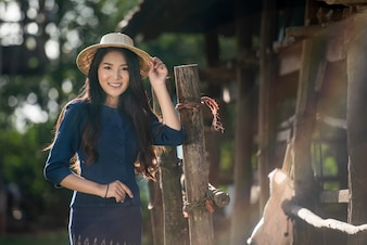 Country girl portrait in outdoors