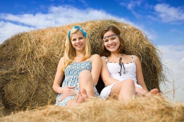 Country girls on hay