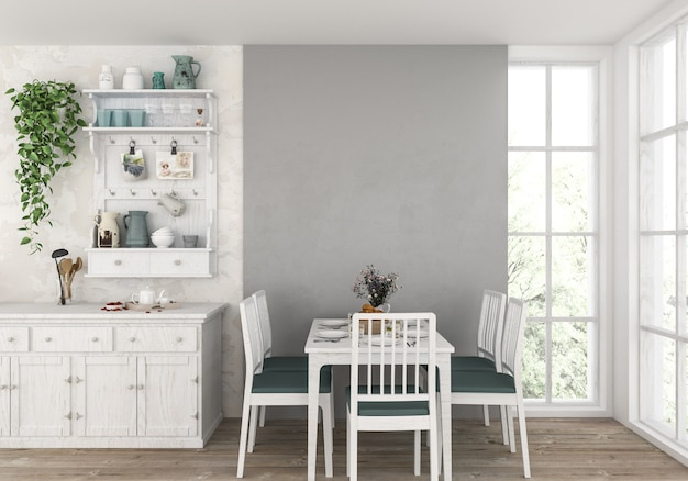 Country kitchen with blank wall, artwork background.
