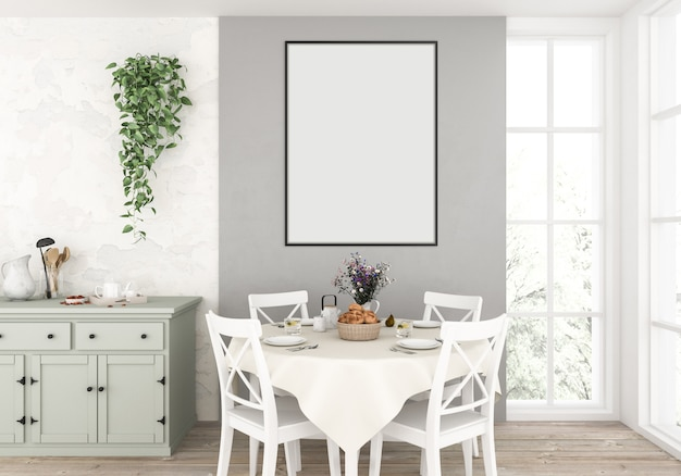 Country kitchen with empty vertical frame