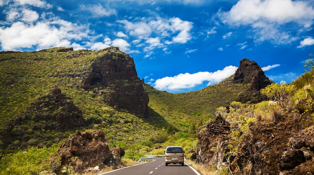 Country road in the mountains of tenerife, canary islands, spain