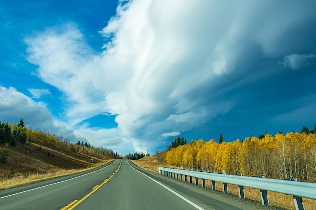Проселочная дорога, сельский пейзаж в осенний сезон. шоссе провинции альберта № 22, также известное как ковбойская тропа. альберта, канада.