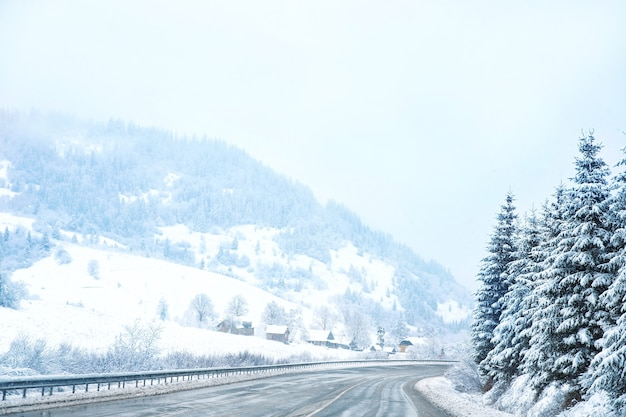 Country road in snowy winter day