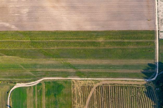 드론 촬영 위에서 시골길 보기