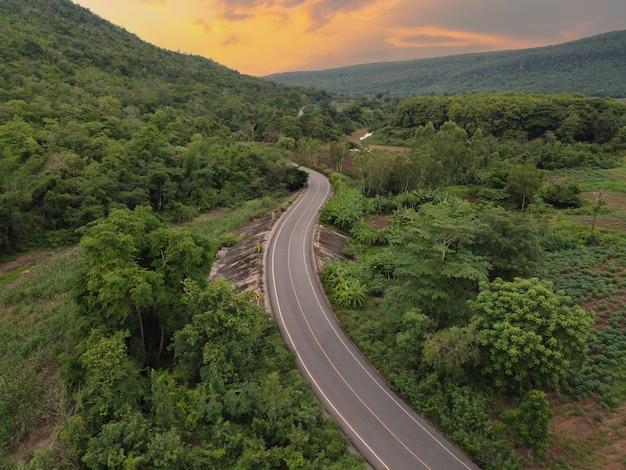 시골 길, 농지 및 녹색 숲, 무인 항공기 공중 촬영