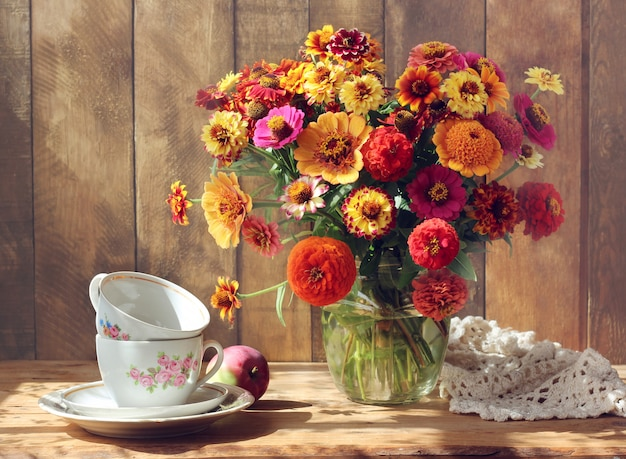 Country still life with flowers