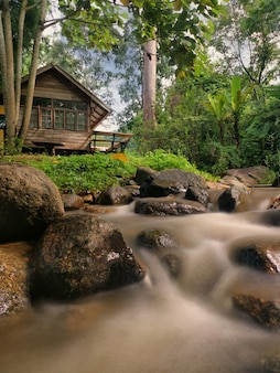 Countryside house with the stream in chiang mai, thailand.