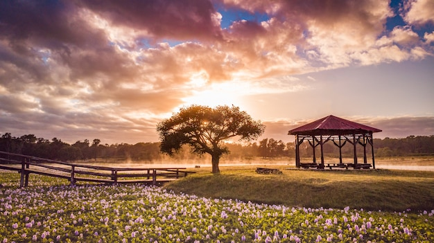 Countryside open-air structure by the tree and flowers under the clouds