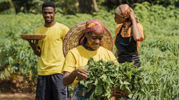 Деревенские люди вместе в поле