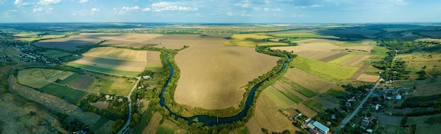 Countryside view from the air top view of the river, aerial view of the forest.landscape of nature outside the city
