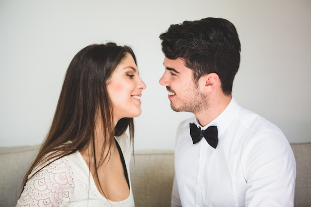 Couple about to kiss Free Photo