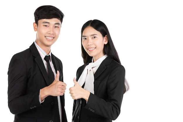 Couple of asian business people isolated on white .