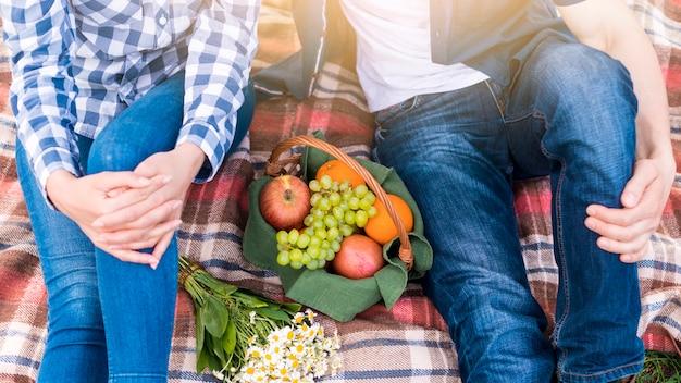 公園の芝生の上のピクニックでカップル