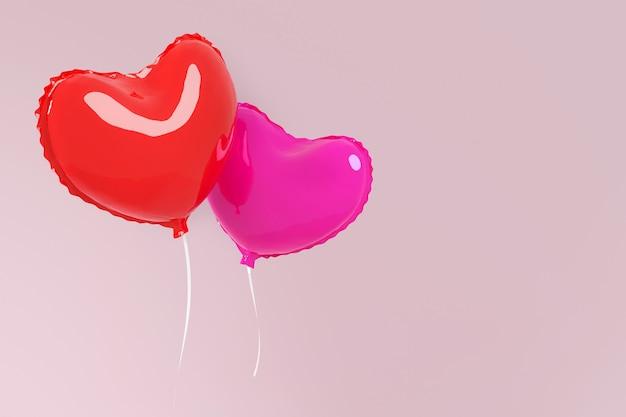 Пара сердец баллон. два сердца, летящие на розовом фоне. концепция карты на день святого валентина или свадьбу.