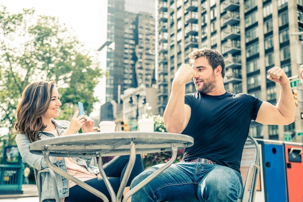 Couple in a bar outdoors