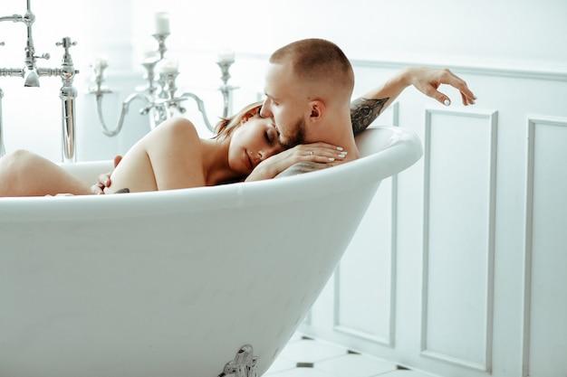 Couple in a bathtub