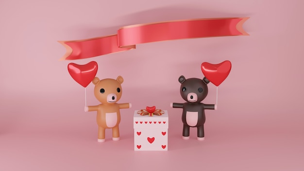 Couple of bears with red heart for celebration of happy valentines day, 3d rendering