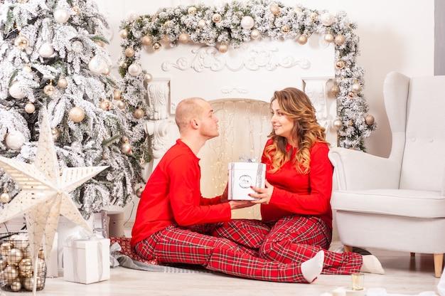Пара перед рождеством развлекается дома