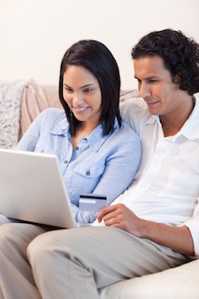 Couple booking holidays online together