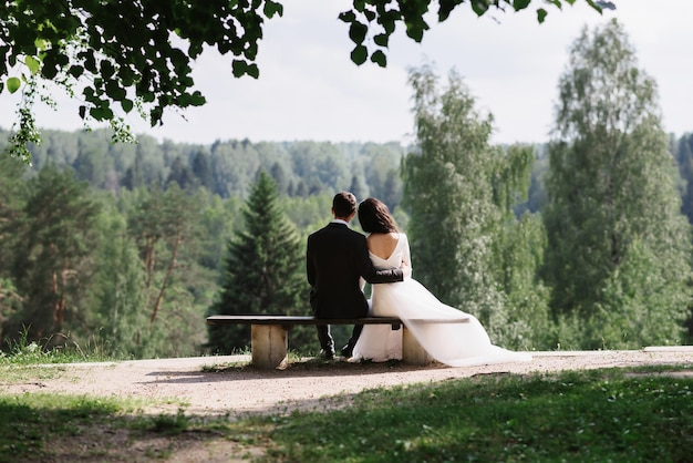 Couple bride and groom embrace sitting on a bench on a wedding day in summer in nature
